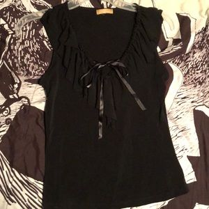Black sleeveless ruffled top